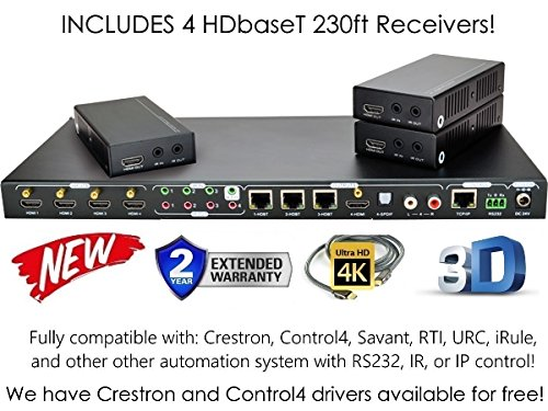 4x4 HDbaseT 4K MATRIX SWITCHER with 3 Receivers (CAT5e or CAT6) HDMI HDCP2.2 HDTV ROUTING SPDIF AUDIO CRESTRON CONTROL4 SAVANT HOME AUTOMATION (4x4 HDbaseT Matrix with 1 HDMI (4x4 Hdtv Matrix)