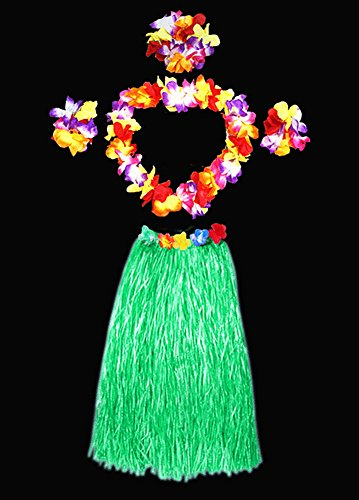 Hawaii Dancing Hula Grass Skirt Adult Costume Suit(Skirt color:green,thicken) by Alimitopia