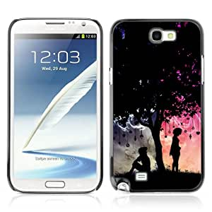 JinStore Hard Case Cover for Samsung Galaxy Note 2 N7100 N7105 / Cool His & Hers Tree Illustration Love