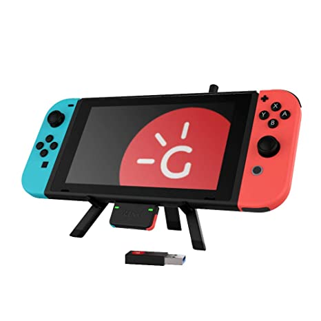 Genki Combo Package Bluetooth 5.0 Audio With Usb Type C Apt X Ll For The Nintendo Switch (Neon Blue Neon Red Button Version) … by Genki