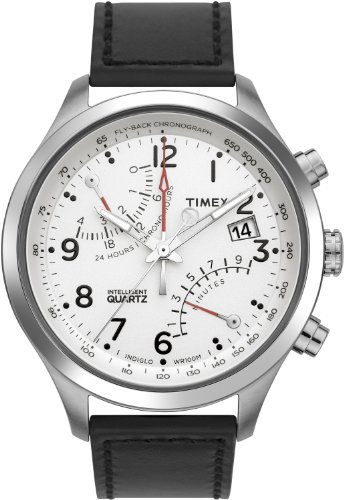 Timex Men's T2N701 Intelligent Quartz SL Series Fly-Back Chronograph Black Leather Strap -