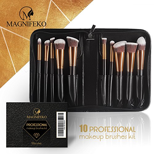 Magnifeko Professional Makeup Brushes Set With case (10-Piece Kit) Face, Eyeshadow, Blending, Contouring, Foundation | Synthetic Bristles | Round, Tapered, Kabuki and Angled