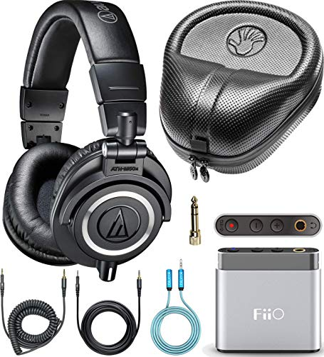 - Audio-Technica ATH-M50x Closed Back Headphones Bundle with FiiO A1 Portable Headphone Amplifier (Silver), SLAPPA Full Sized Hardbody PRO Headphone Case and Blucoil 3.5mm Audio Extension Cable