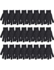 Black Winter Warm Knit Magic Gloves for Unisex Adults-One Size Fits All