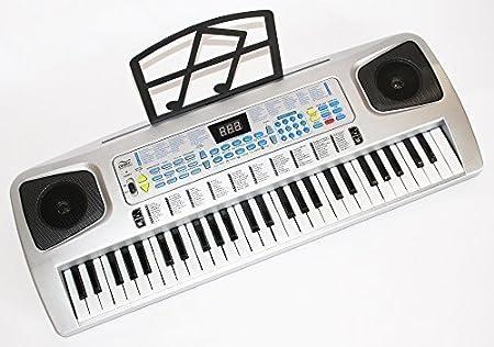 Sky 0754235506546 Teclado y Piano para niños 54 teclas con micrófono, fuente, ordenador Recubrimiento de plata