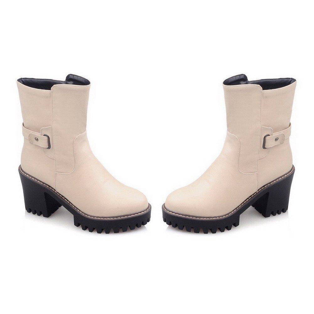 AllhqFashion Women's Solid High-Heels Round Closed Toe PU Boots Pull-On Boots PU B01NCKHAZ4 Platform 1a1946