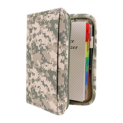 - Large ACU Digital Camo Military Mid-Sized Binder with File System Planner Organizer Writing Folder-Daily, Weekly, Monthly Agenda Calendar-Bookmark/Ruler