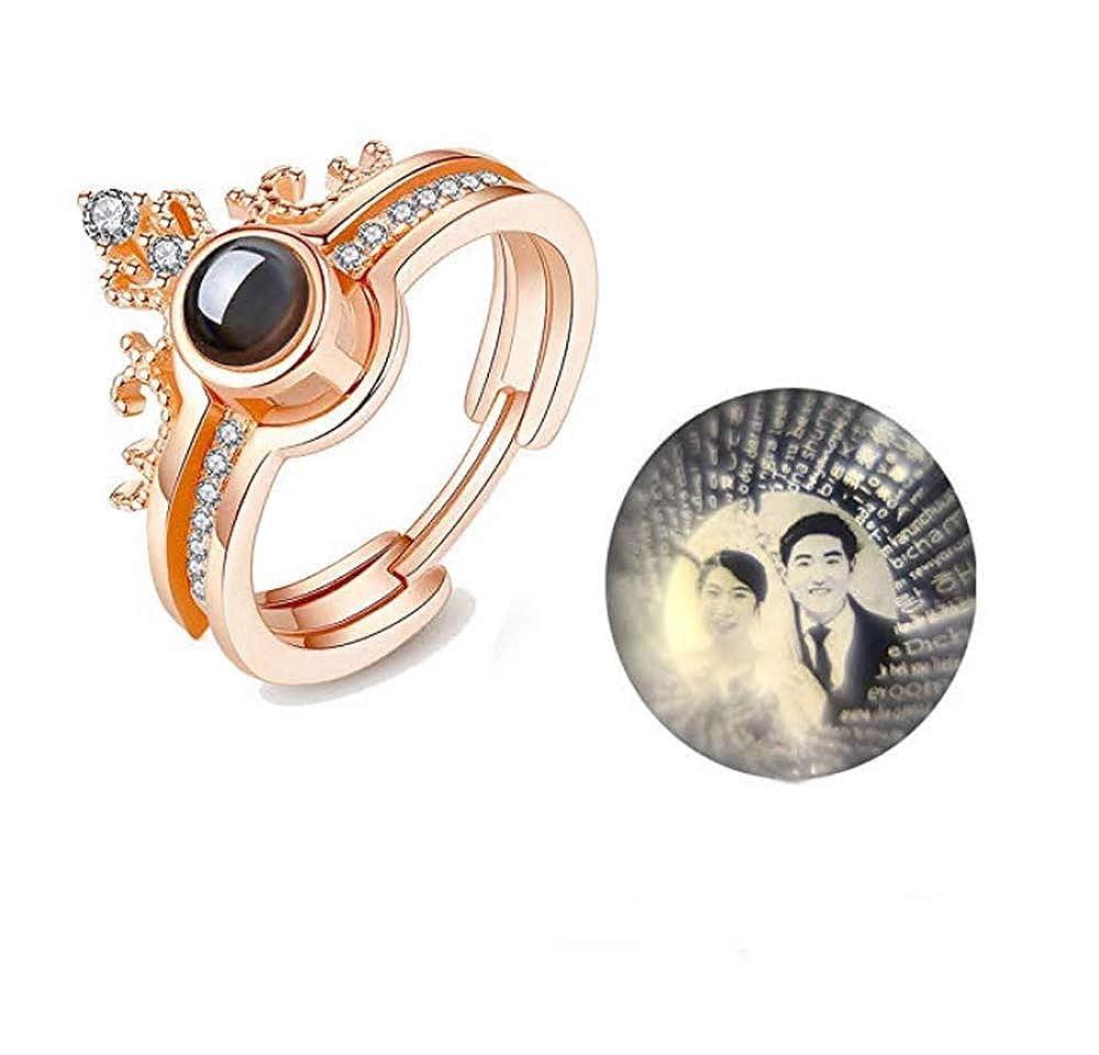 Anello Corona in Argento Sterling 925 Regalo Gioielli Personalizzati per Amante della Mamma Ti Amo Anello in 100 Lingue Nome Personalizzato//Anello di proiezione Fotografica