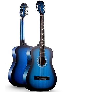North King Acústico Guitarra Redonda Azul balada Madera Guitarra Principiante Viajes de Madera Guitarra Adultos música Instrumentos 95 cm: Amazon.es: Jardín