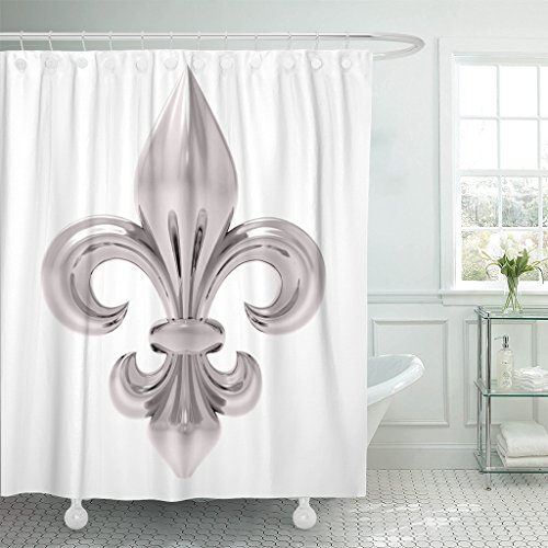 Emvency Shower Curtain Blue Antique Fleur De Lis White Green Symbol Arms Waterproof Polyester Fabric 60 x 72 Inches Set with Hooks
