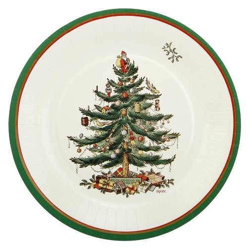 CR. Gibson Christmas Tree 8-Inch Spode Appetizer/Dessert Paper Plates, 8-Pack