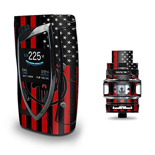 Skin Decal Vinyl Wrap for Smok Devilkin Kit 225w Vape (Includes TFV12 Prince Tank Skins) Skins Cover/Red American Flag Black Punish Badge