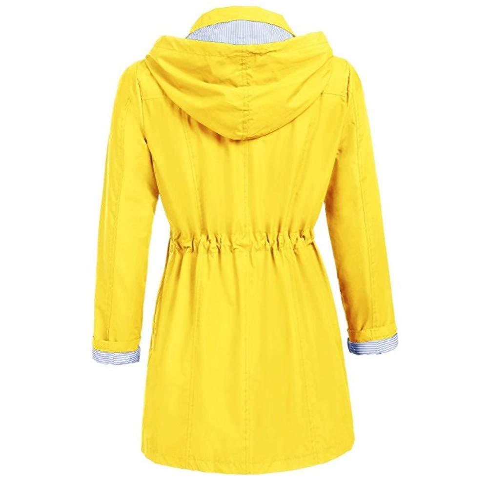UOFOCO Solid Rain Jacket Womens Outdoor Waterproof Windproof Hoodie Hooded Raincoat