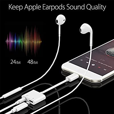 Lightning Jack Headphone Adapter Charger for iPhone 8/8 Plus 7/7 Plus/iPhone X iPad.Earphone 3.5mm AUX Splitter Audio&Charge&Volume Control Adaptor,Connector Lightning Cable Support iOS 11.3 System