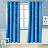 Blackout Curtains for Boy's Bedroom - Eyelet Thermal Insulated Silver Star Print Room Darkening Curtains for Nursery Living Room, 2 Panels (W55 X L69 Inch, Blue)