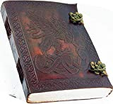 Leather World Ltd. Handmade Leather 6 X 8 Celtic Griffin Leather Journal with Handmade Paper by Leather World Ltd.