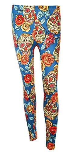 DREAGAL Big Flowers And Sugar Skull Printed Leggings For Juniors Girls X-large for $<!--$15.97-->