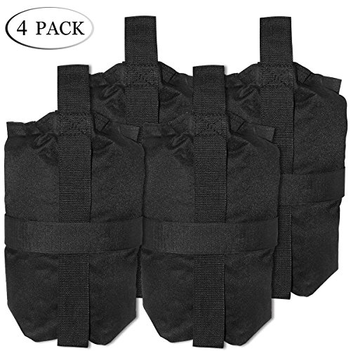 (TopCamp 4 Pack Sand Bags for Tent, Weights Bags for Pop up Canopy Tent Weight Bags for Sun shelter Hold 30lb~40lb,300 cu in Capacity)