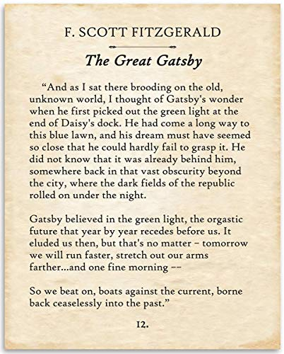 F. Scott Fitzgerald - The Great Gatsby - 11x14 Unframed Typography Book Page Print - Great Gift for Book Lovers, Also Makes a Great Gift Under $15
