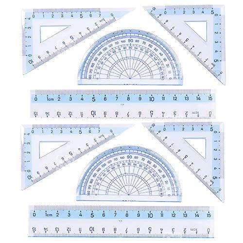 Rocutus 8 Pieces/Set Square Plate Semicircular Protractor Ruler,Study Ruler,Working Ruler,Multipurpose Student Plastic Ruler