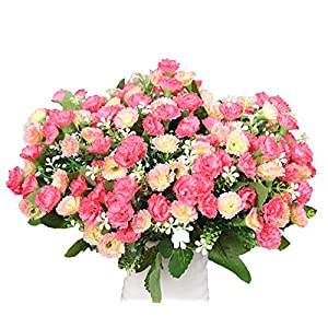 Lopkey Artificial Flower Dianthus Caryophyllus Carnation Fake Silk Flower Plastic Flower Arrangement Wedding Party Home Garden Decor,Pink 54