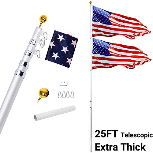Gientan 25FT Telescopic Flag Pole Kit 3x5 US