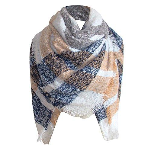 (Byyong Womens Tartan Plaid Square Blanket Scarf Large Checked Wrap Shawl Winter Warm)