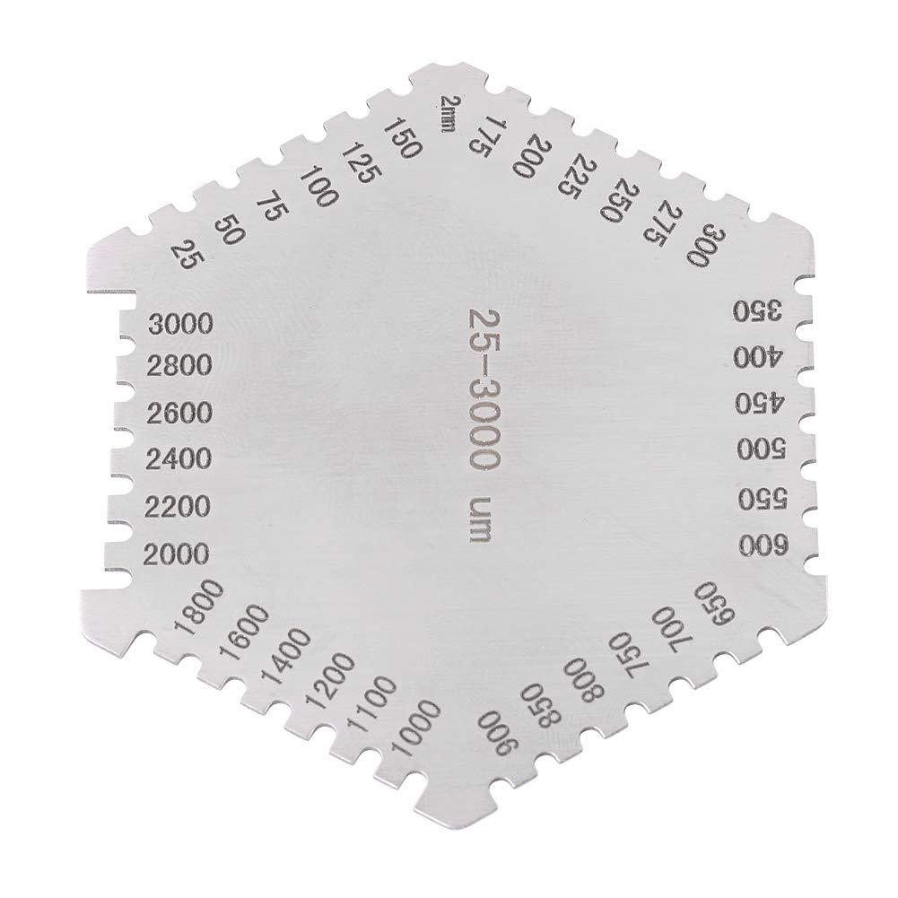 Peine de pel/ícula h/úmeda de precisi/ón 25-3000um Medidor de Espesor Hexagonal Acero Inoxidable de Alta precisi/ón
