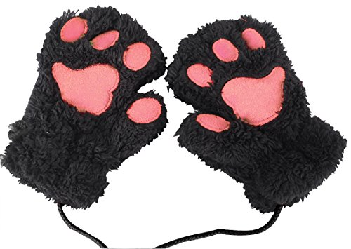 Aniwon Fingerless Gloves Cat Claw Bear Paw Style Winter Plush Furry Mitten for Women - Bear Paw Gloves Costume