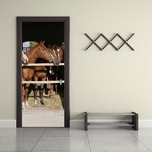 AmazingWall Stable 3D Horse Door Decor DIY Home Decoration Closet Poster Door Wall Mural Deca 30.3x78.7''