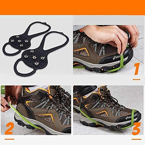 JUMETE Universal Non-Slip Gripper Spikes, Ice Snow Grips Winter Camping Hiking Walking Cleat Gripper with 5-Claw Anti-Slip Nails, Durable Shoe Ice & Snow Grips, Ice Grippers Shoes Spike for Climbing