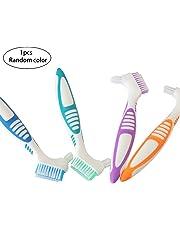 1PC Denture Cleaning Brush Premium Denture Cleaner Top Denture Cleanser Tool With Multi-Layered Bristles And Ergonomic Rubber Handle(Random)