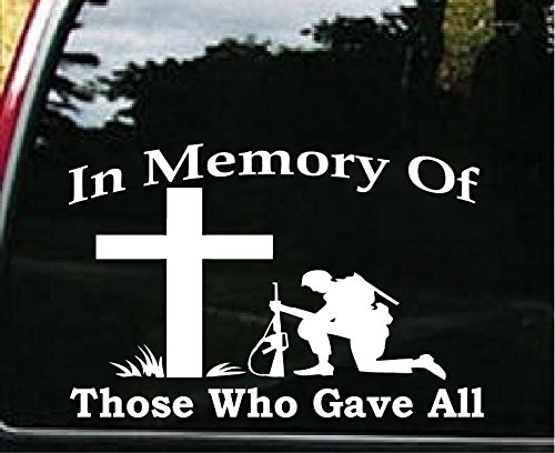 - In Memory of Those Who Gave All Military Car Window Wall Laptop Decal Sticker -- White 5in X 6.3in Laptop Dye-cut By Boston Deals USA