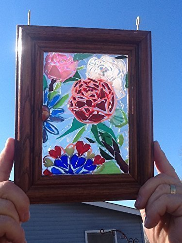 Grandmother Panel - Stained Glass Roses Window Art Sun Catcher