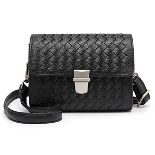Bag Bag Bag Metal Ming Soft Pu Wardrobe Purse amp; Phone Young Leather Pattern Woman Crossbody Black Woven Shoulder Mini Clutch EvxHPYwq