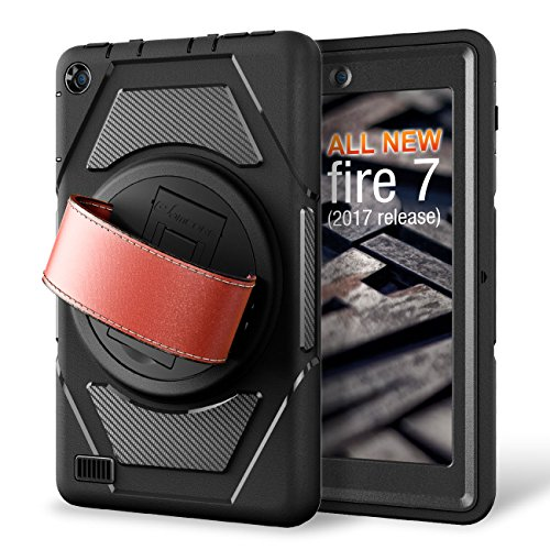 Integrated Hand Grip (eSamcore All-New Amazon Fire 7 Tablet Case,[Built-in Screen Protector] [Hand Strap] [Kickstand] Rugged Protection Case for Kindle Fire 7 2017 Release [Black/Black])