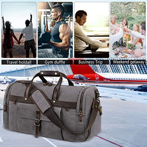 Travel Duffel Bag Waterproof Duffle Bags for Men Oversized Genuine Leather Carryon Weekend bag Canvas Overnight Bag Grey