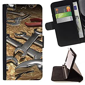 For Sony Xperia Z1 L39 Abstract Wrench Tool Beautiful Print Wallet Leather Case Cover With Credit Card Slots And Stand Function