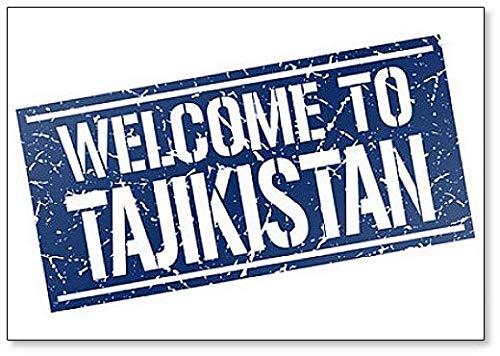 Welcome to Tajikistan Stamp Illustration Fridge Magnet