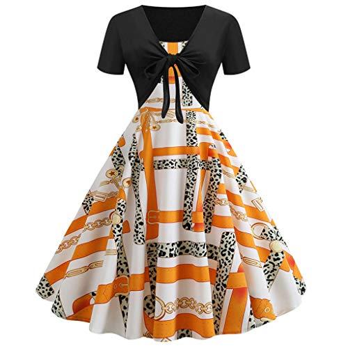 - Kulywon Womens Vintage Print Short Sleeve Dress Sling Pullover Two-Piece Set Dresses Orange