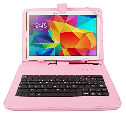 DURAGADGET Durable Pink Faux Leather Protective Case / Cover With Micro USB FRENCH Keyboard For NEW Samsung Galaxy S2 9.7