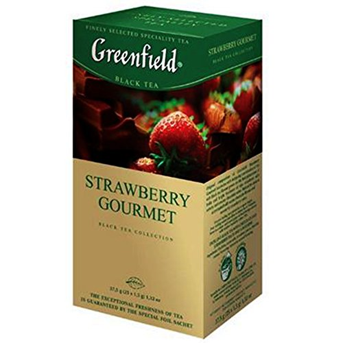 Greenfield Schwarztee Strawberry Gourmet 3er Pack (3 x 25 Teebeutel) Tee black Tea