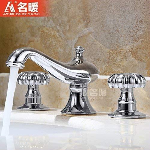 JingJingnet 洗面器ミキサータップ浴室のシンクの蛇口ユーロ銅ゴールド3冷水タップ分割8インチの洗面台の洗面台の洗面台 (Color : 4) B07RVJF4V1 4