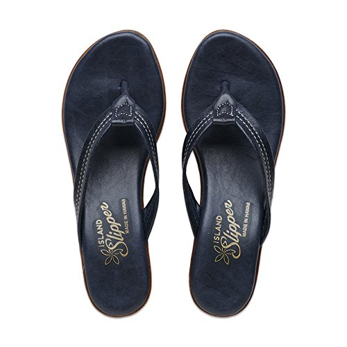 blue Island Wedge T922 Sandal Navy Leather Slipper Women's 6wq6r0