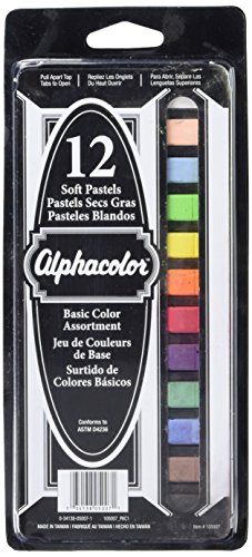 Quartet Alphacolor Soft Square Pastels, Multi-Colored, 12 Pastels per Set (105007) Square Chalk Pastels