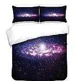 3Pcs Duvet Cover Set,Galaxy,Nebula Cloud in Milky Way Infinity in Interstellar Solar System Design Print,Purple Dark Blue,Best Bedding Gifts for Family/Friends
