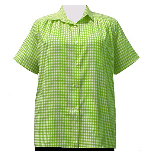 A Personal Touch Women's Plus Size Lime Gingham Short Sleeve Tunic - 6X