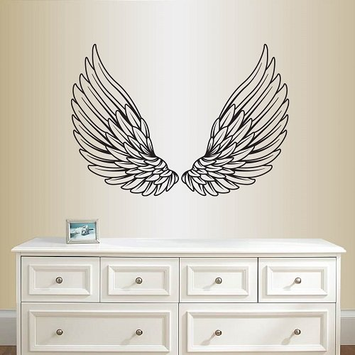 - Wall Vinyl Decal Home Decor Art Sticker Pair of Angel or Eagle Wings Kids Bedroom Living Room Removable Stylish Mural Unique Design 2102