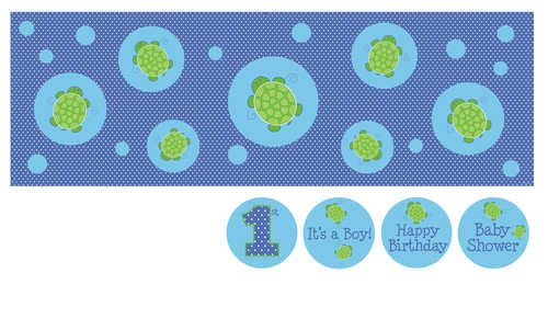 Giant Party Banner with Stickers, Mr. (Turtle Baby Shower Decorations)
