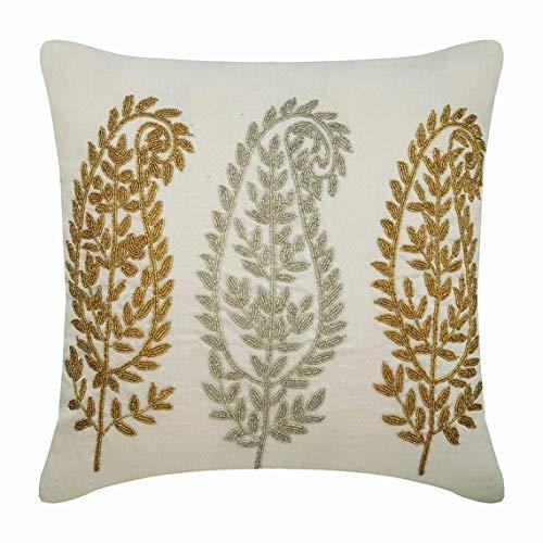 The HomeCentric Funda de Almohada Decorativa Blanco Oro y ...
